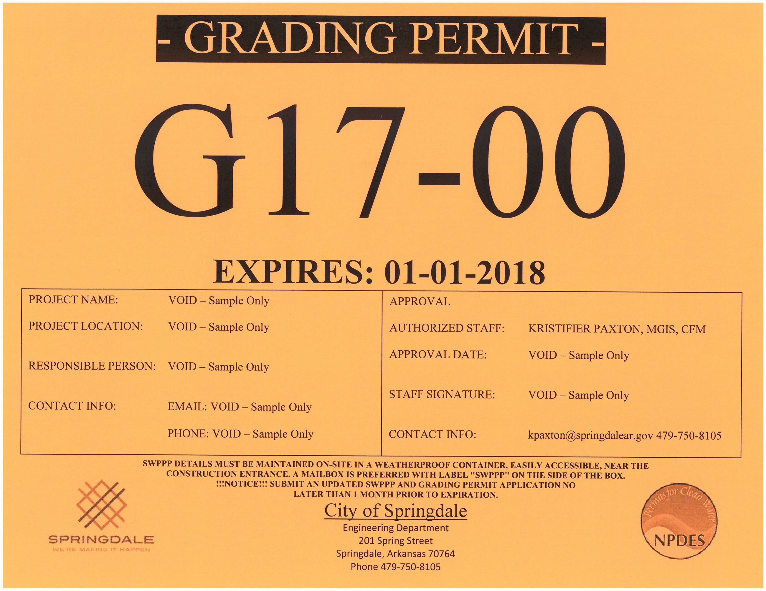 Grading Permit Sample