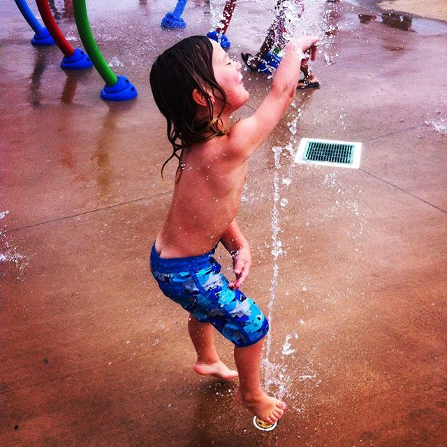 Boy at a splash park