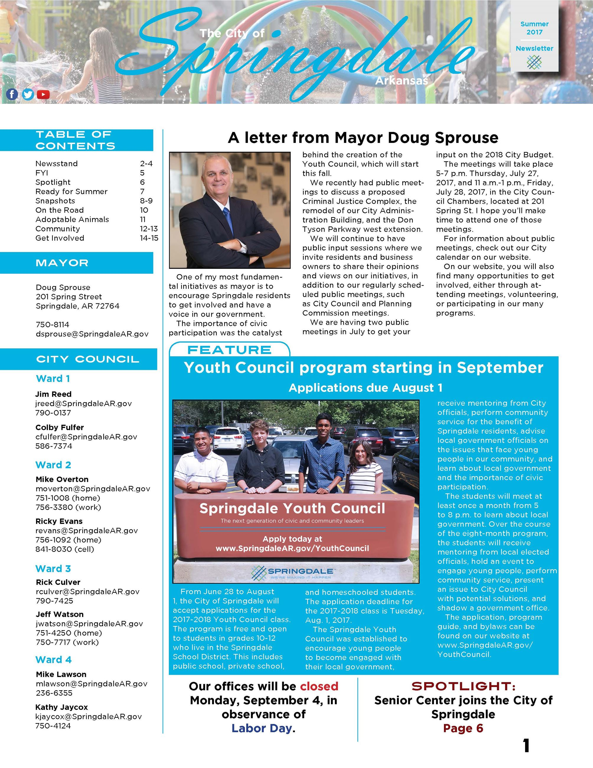 Summer 2017 Newsletter Front Page