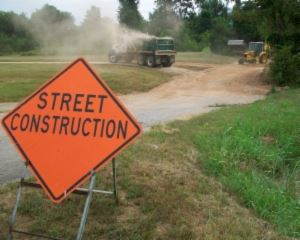 Street   construction sign on road