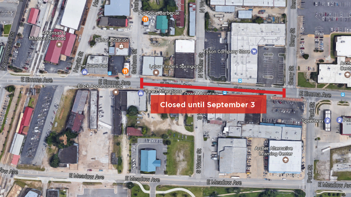 Emma Ave. Closure Extension July 31-September 3