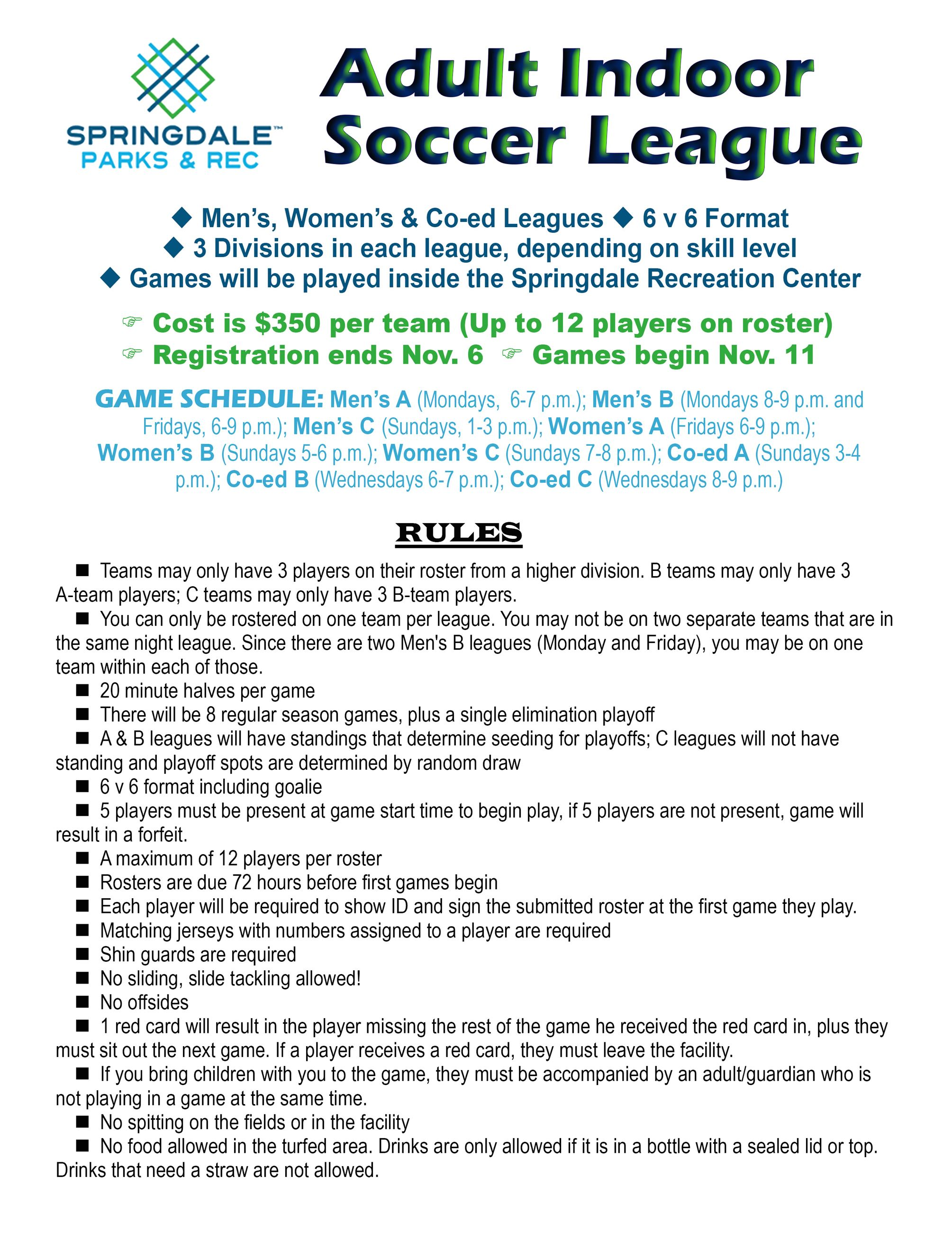 Indoor Soccer info sheet
