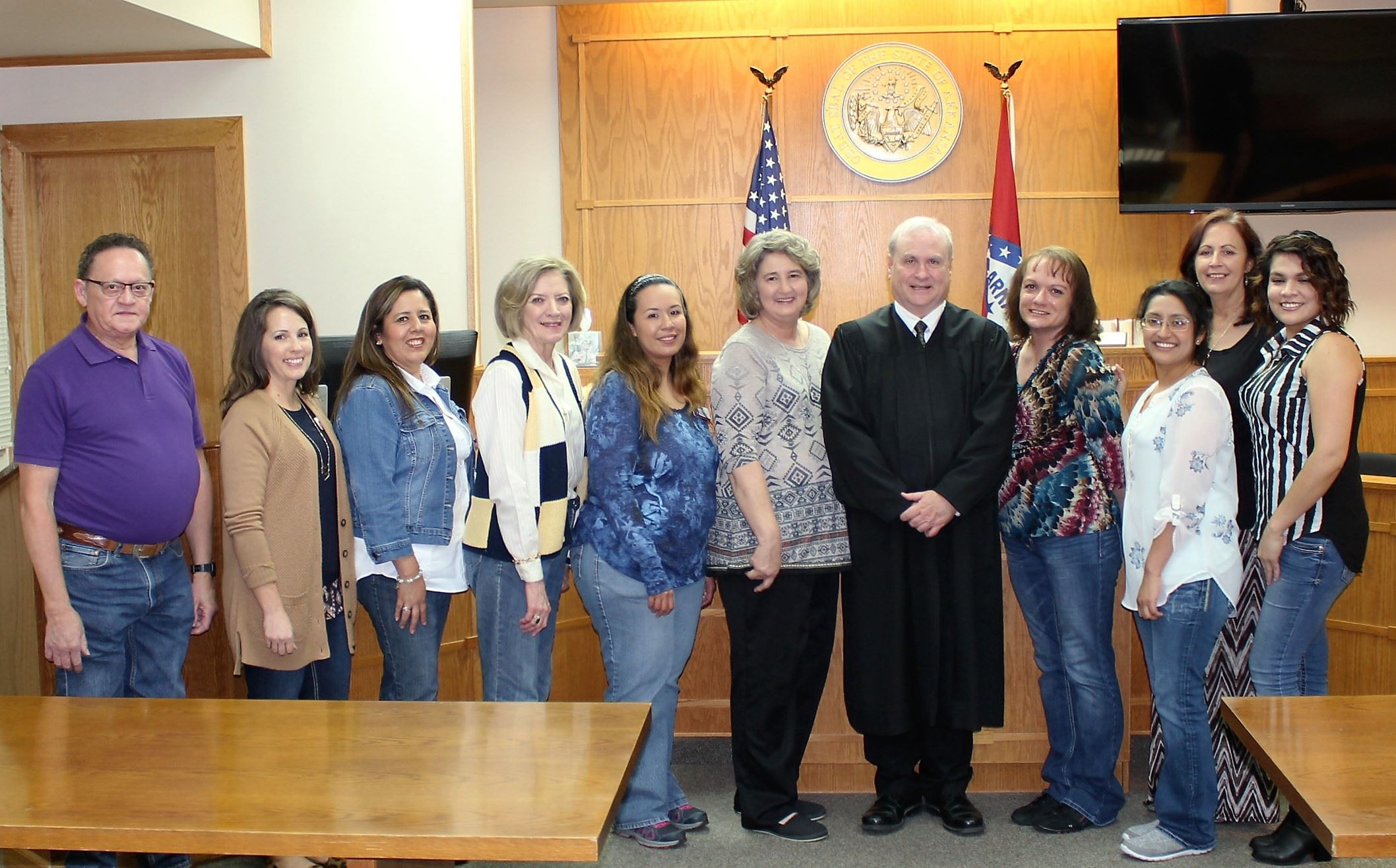 Judge Harper, Sue, Probation Officer Jerry Tedford and Deputy Court Clerks after the ceremony.