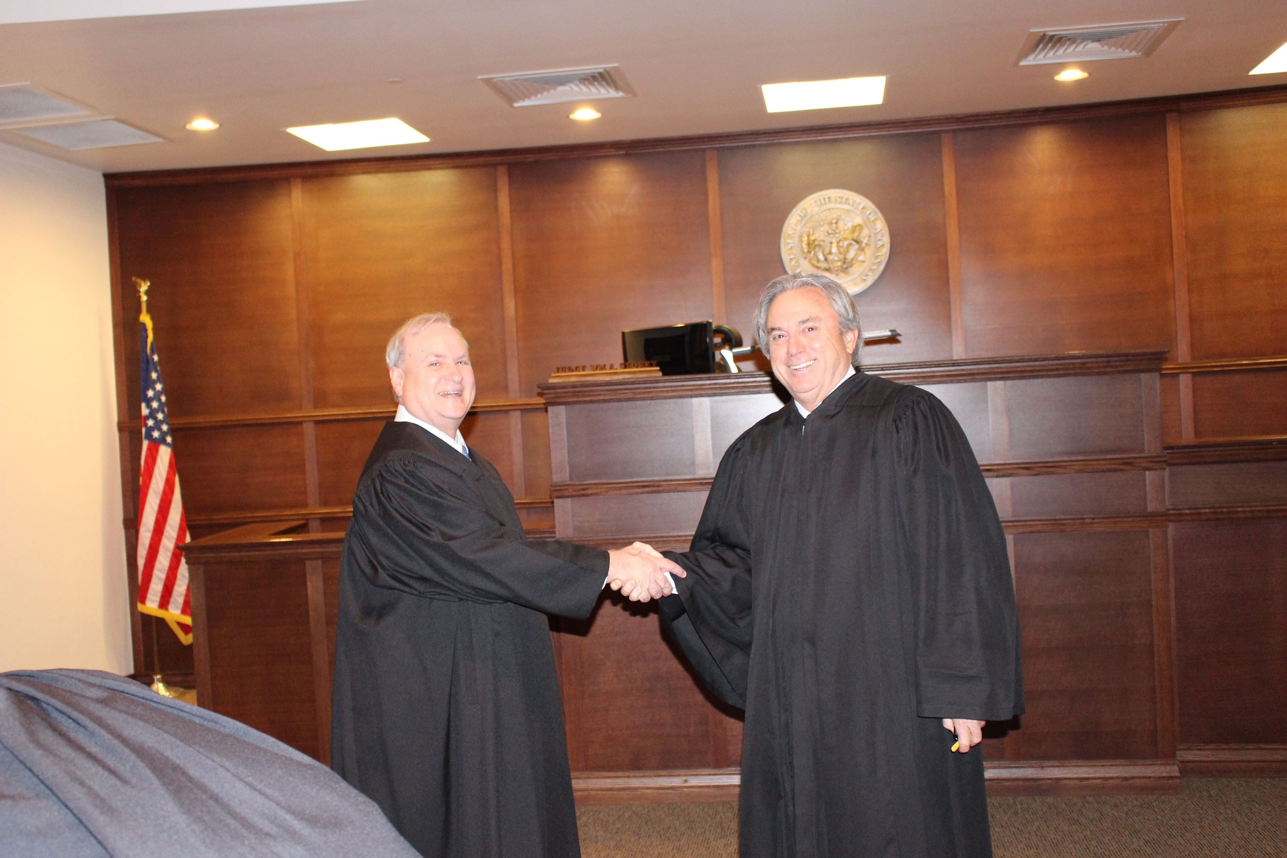 Judge Jeff Harper was sworn in as Springdale's first full time District Court Judge by Hon. Robert Gladwin, Chief Judge at Ark Court of Appeals. 1-2-2017