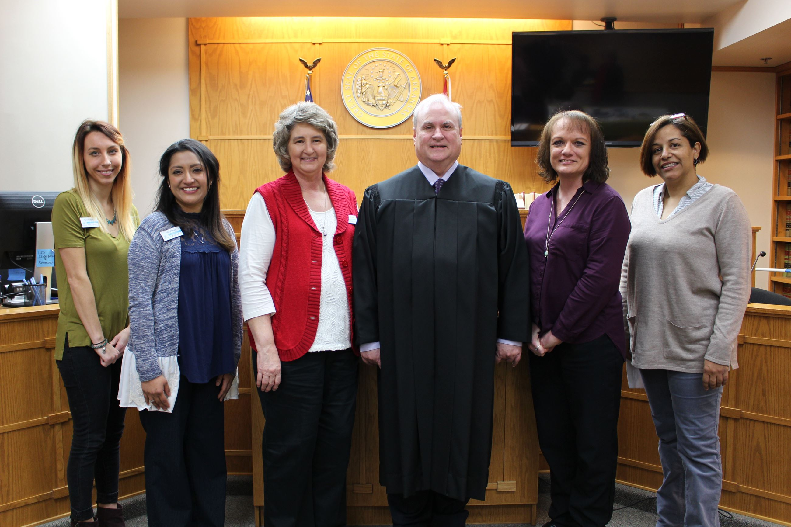 New Chief Deputy, New Civil/Small Claims Div. Chief and two new Deputy Clerks sworn in by Judge Harper.
